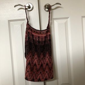 backless pink patterned tank top.